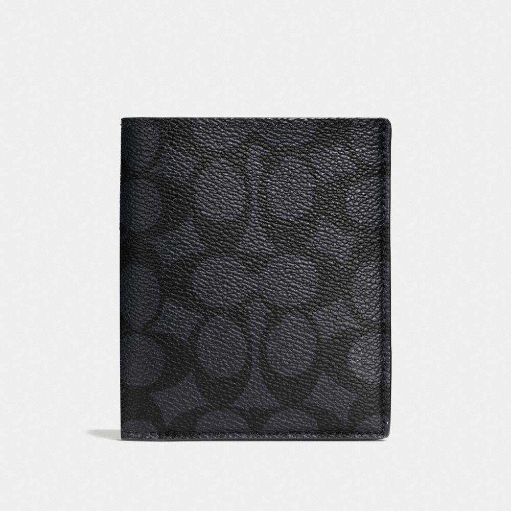 Coach Slim Coin Wallet In Signature Coated Canvas In Charcoal