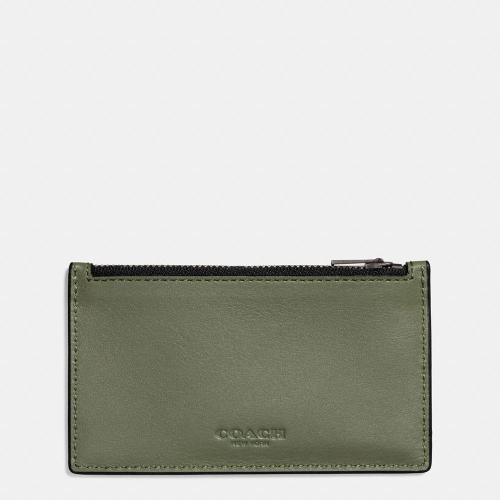 Coach Zip Card Case In Moss