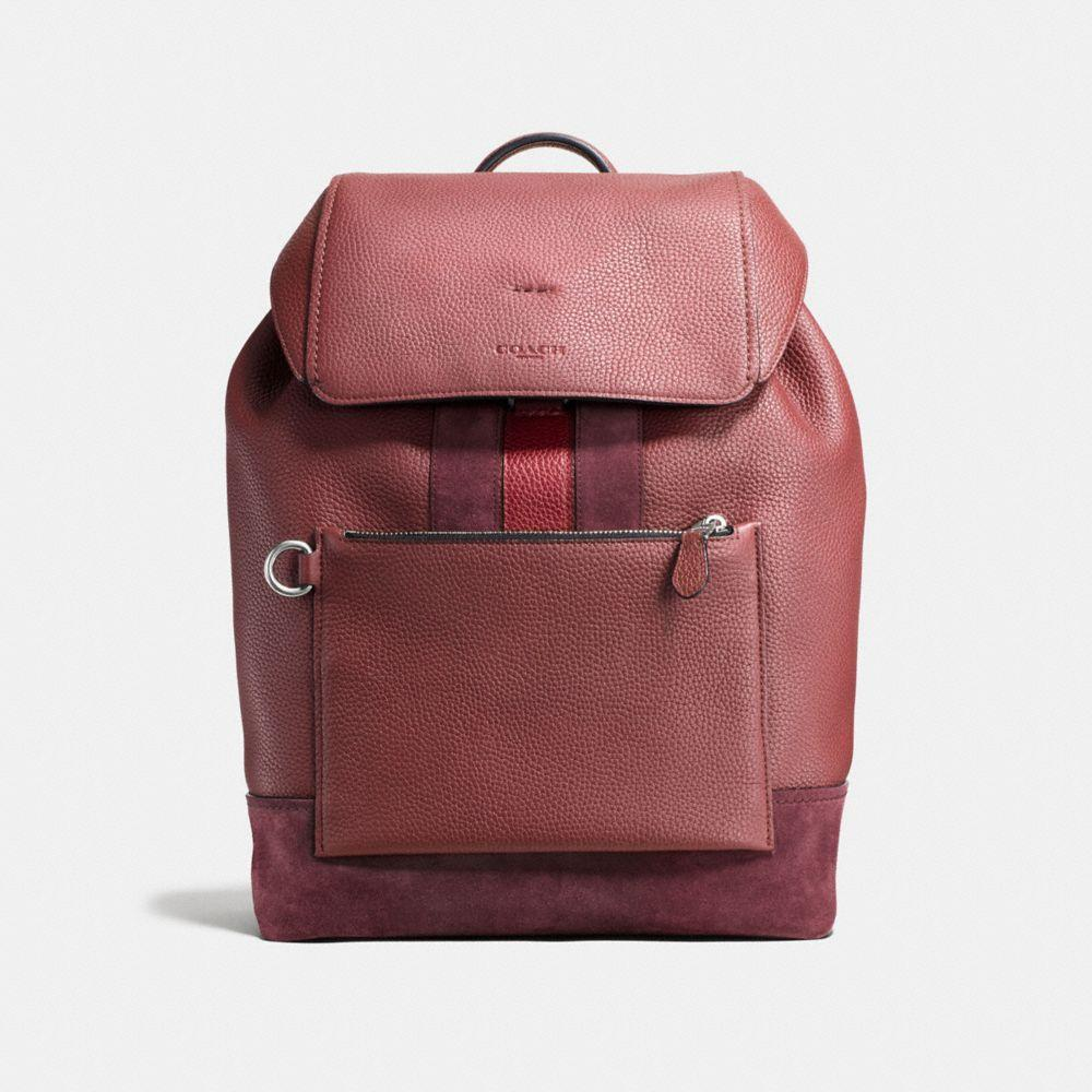 Coach Manhattan Rucksack In Brick Red/cherry/dark Nickel