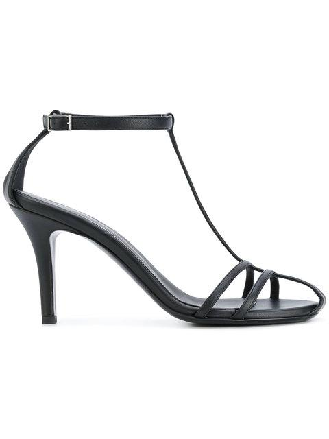Paco Rabanne Classic T-bar Sandals In Black