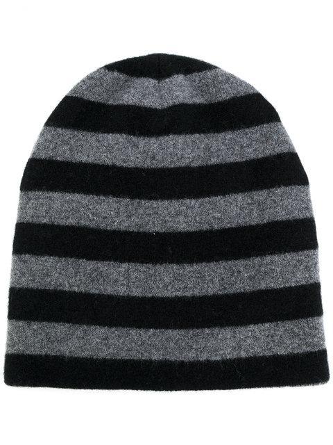 Alexander Wang Black-grey Wool Striped Beanie