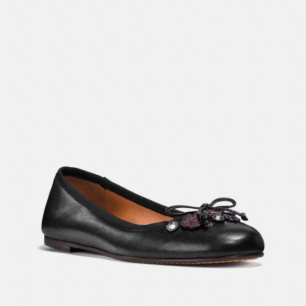 Coach Tea Rose Lola Ballet Flats In Black