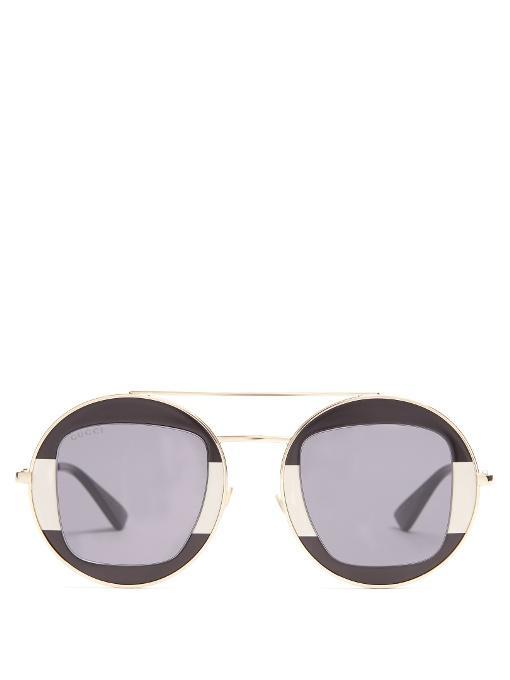 Gucci Round-frame Metal Sunglasses In Black Multi