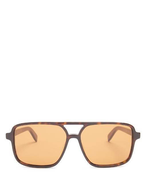 Saint Laurent Square Aviator-frame Acetate Glasses In Brown