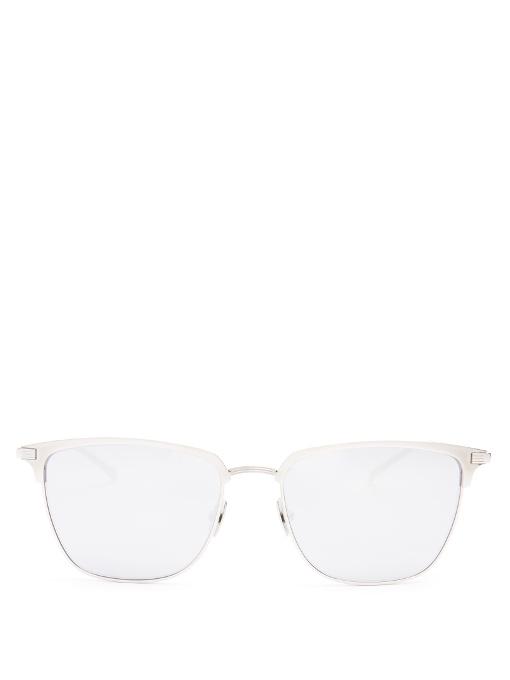 Saint Laurent D-frame Titanium Sunglasses In Silver