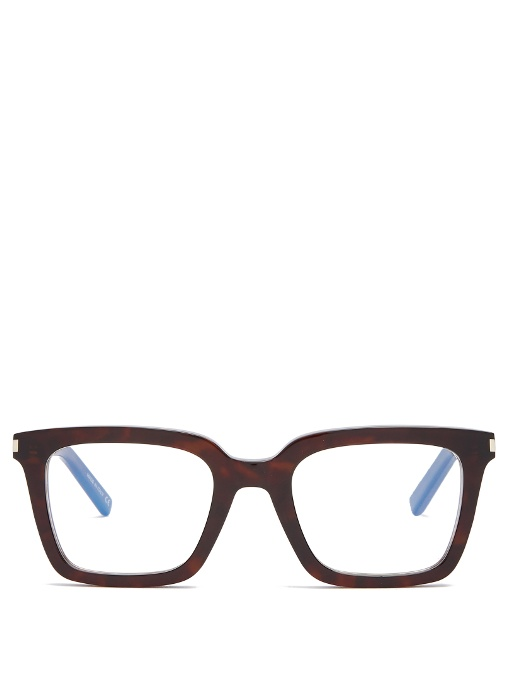 Saint Laurent Rectangle-frame Glasses In Brown
