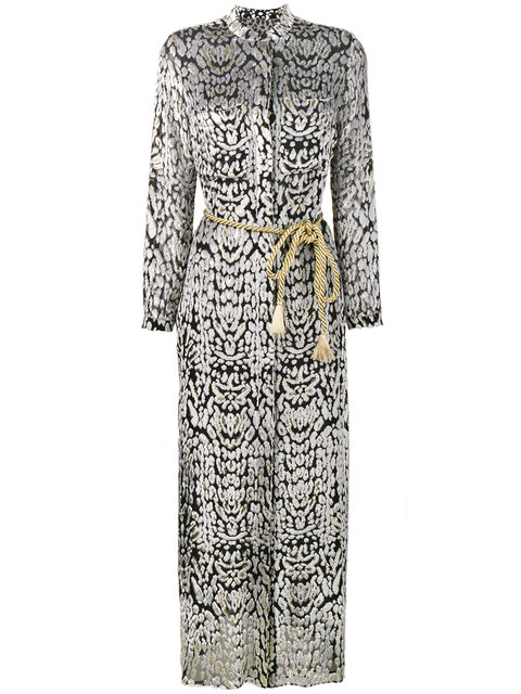 Adam Lippes Woman Belted Metallic Fil CoupÉ Chiffon Maxi Dress Ivory In Black