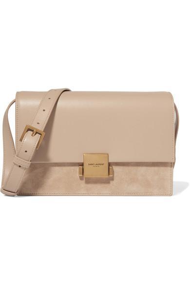 Saint Laurent Bellechasse Medium Leather And Suede Shoulder Bag In Beige