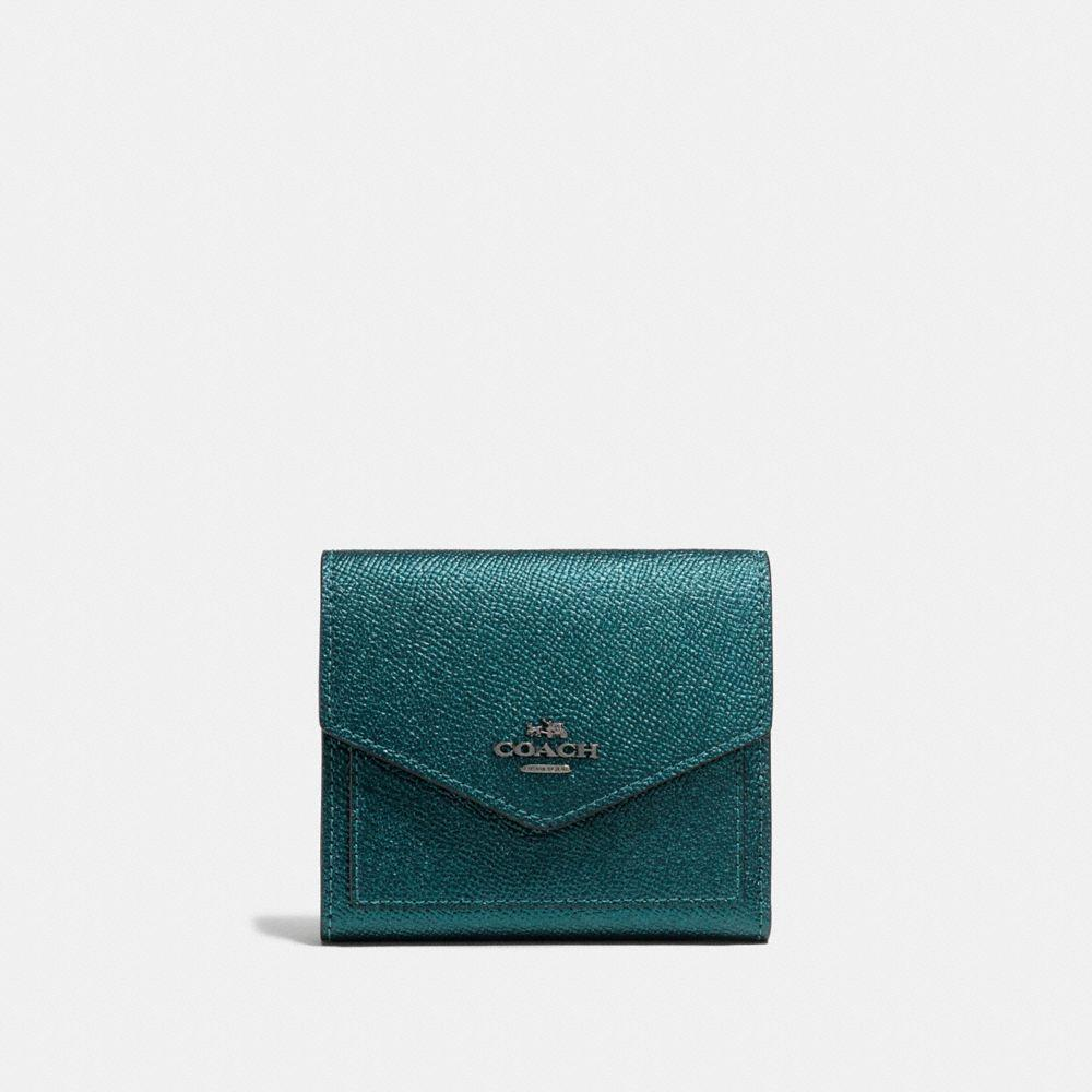 Coach Small Wallet In Metallic Mineral/dark Gunmetal