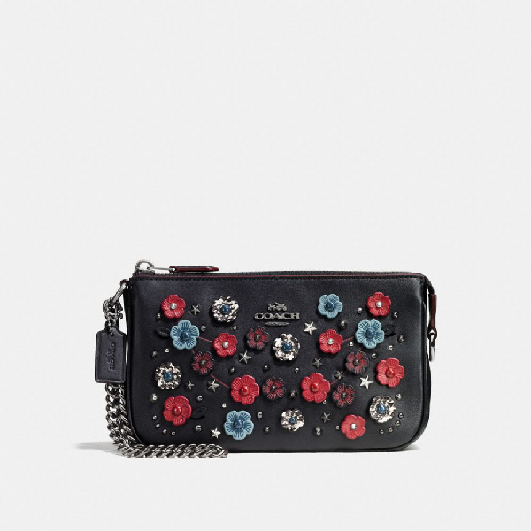 Coach Nolita Wristlet 19 With Willow Floral And Snakeskin Detail In Black Cloud Multi/dark Gunmetal