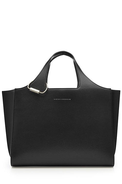 Victoria Beckham Newspaper Small Leather Shopper In Black