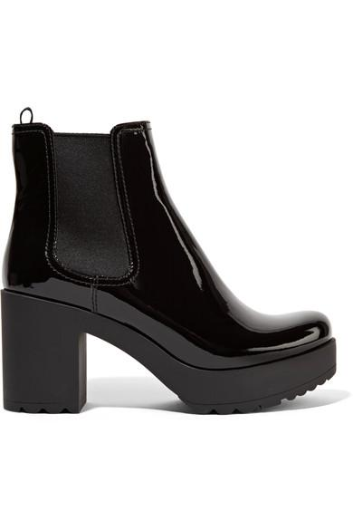Prada Patent-leather Ankle Boots In Black