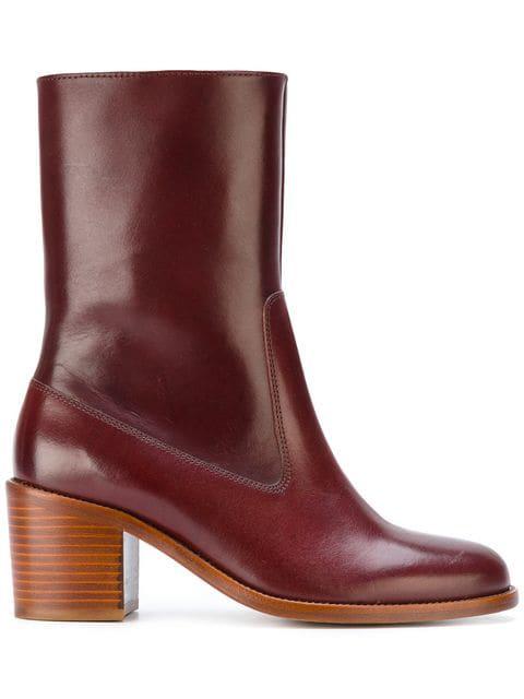 A.p.c. Eva Leather Ankle Boots In Bordeaux