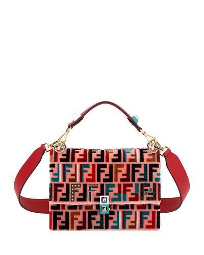fa4e2dd932a3 Fendi Kan I Embroidered Leather Shoulder Bag In Pink