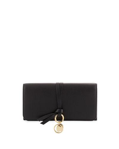 ChloÉ Alphabet Leather Continental Flap Wallet In Black