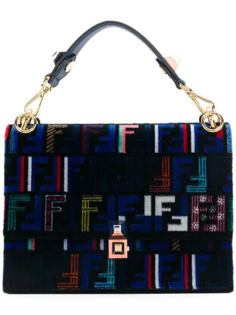 Fendi Kan I Tappetino Velvet Shoulder Bag - Blue