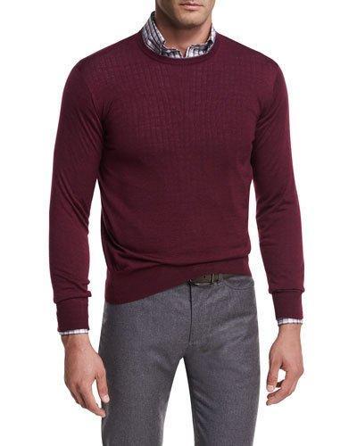 Peter Millar Collection Merino-silk Crewneck Sweater In Chianti