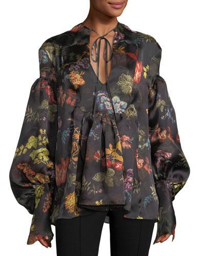 Rosie Assoulin Swashbuckler Floral-print Satin Top In Multi