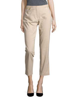 Calvin Klein Front Zipper Ankle Pants In Latte