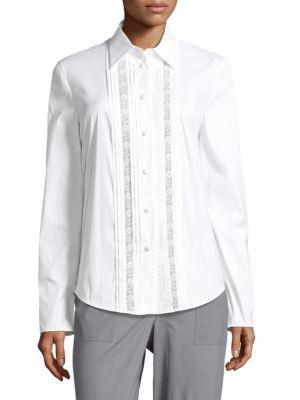 Prada Camicia Crepe Button-down Shirt In White