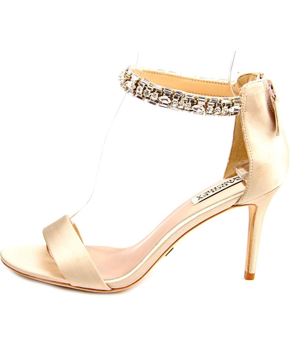 Badgley Mischka Carlotta   Open Toe Canvas  Sandals In Khaki
