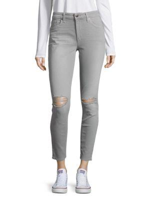 Joe's Jeans Skinny Ankle Distressed Jeans In Alloy