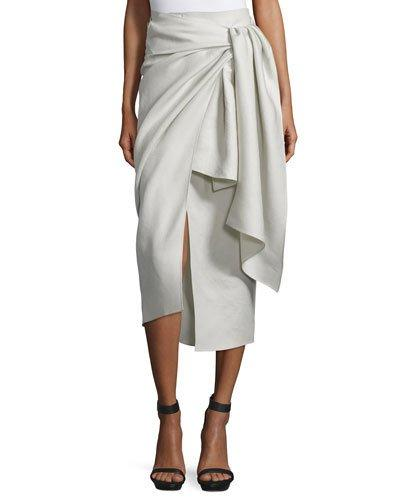 Joseph Fran Metallic Twill Wrap Skirt, Pumice