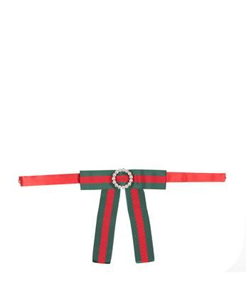 Gucci Jeweled Grosgrain Web Neck Bow In Verde