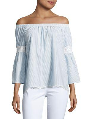 Joe's Jeans Off-the-shoulder Embroidered Peasant Blouse In Blue Stripe