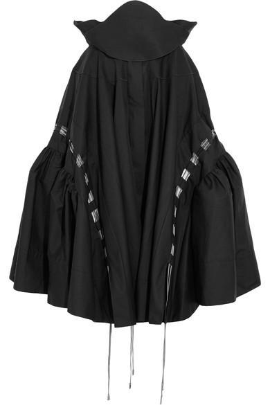 Antonio Berardi Mesh-trimmed Cotton-poplin Skirt