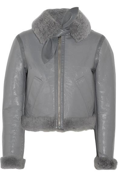 Balenciaga Le Bombardier Brilliant Polished-leather And Shearling Jacket