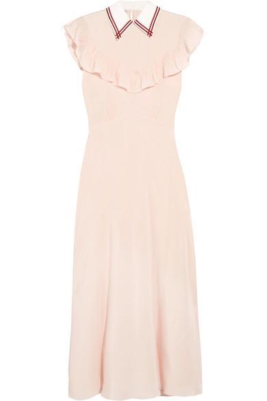Miu Miu Ruffled Silk Crepe De Chine Midi Dress In Blush