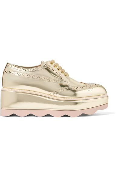 Prada Metallic Leather Platform Brogues In Gold