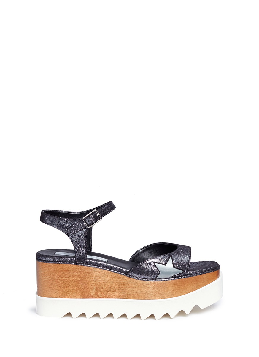 Stella Mccartney 'elyse' Metallic Alter Nappa Wood Platform Sandals