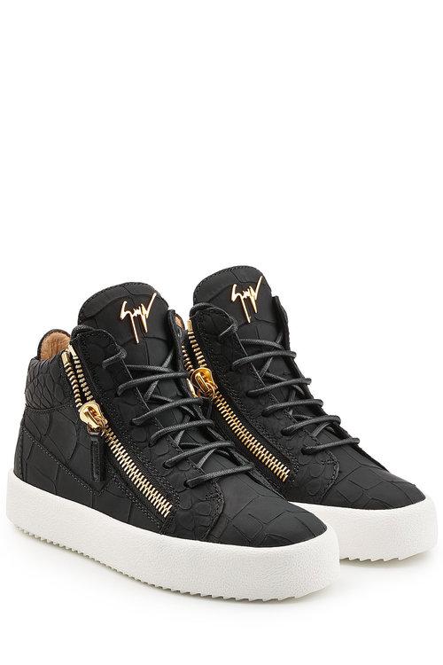 Giuseppe Zanotti Croc-embossed Leather High-tops In Black