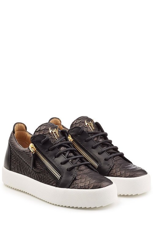 Giuseppe Zanotti Embossed Leather Platform Sneakers In Black