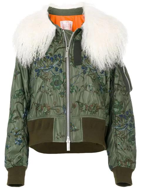 Sacai Shearling Cropped Bomber Jacket - Green