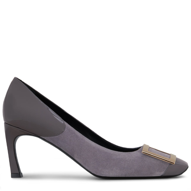 Roger Vivier Belle Vivier Trompette Cut Pumps In Suede And Patent Leather In Violet