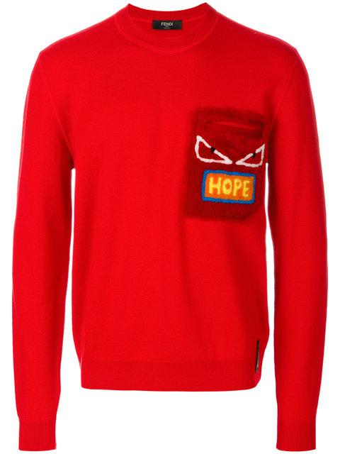 Fendi Lambskin AppliquÉ Sweater In Red