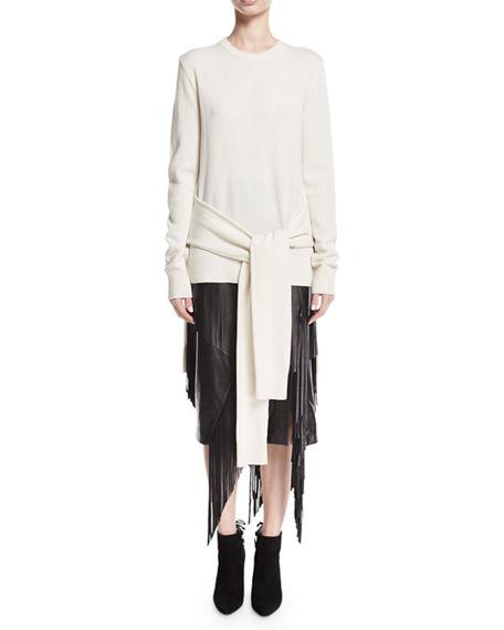 Michael Kors Tie-waist Cashmere Pullover In White