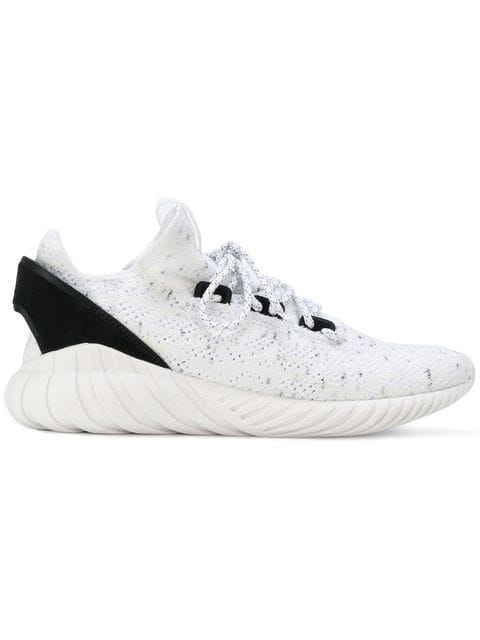 Adidas Originals Men's Tubular Doom Sock Primeknit Lace Up Sneakers In White/black