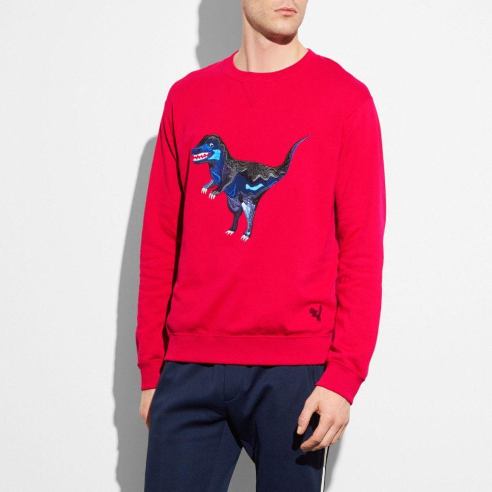 Coach 'rexy' Dinosaur Embroidered Sweatshirt In Tango