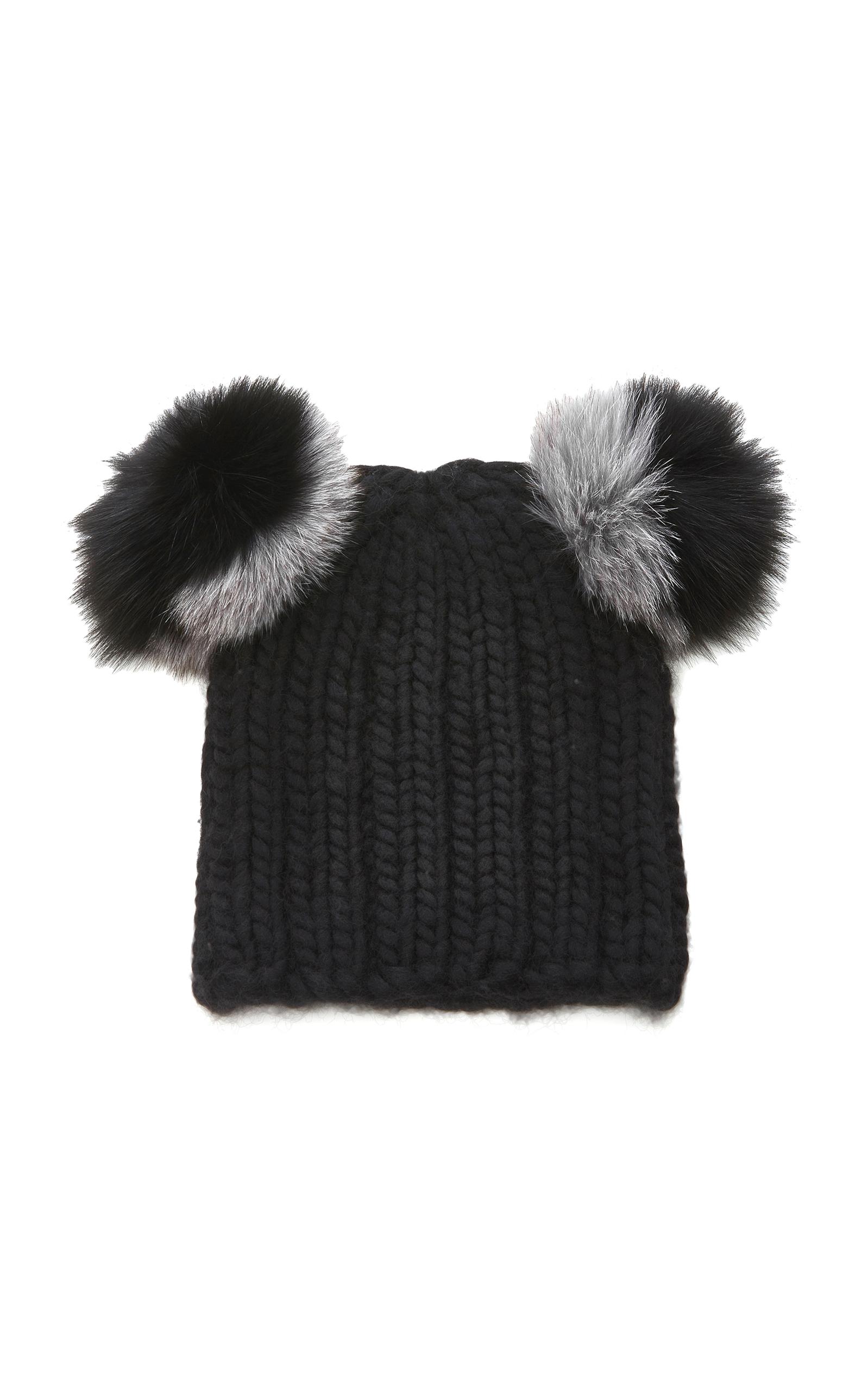 Eugenia Kim Mimi Beanie With Genuine Fox Fur Pompoms - Black