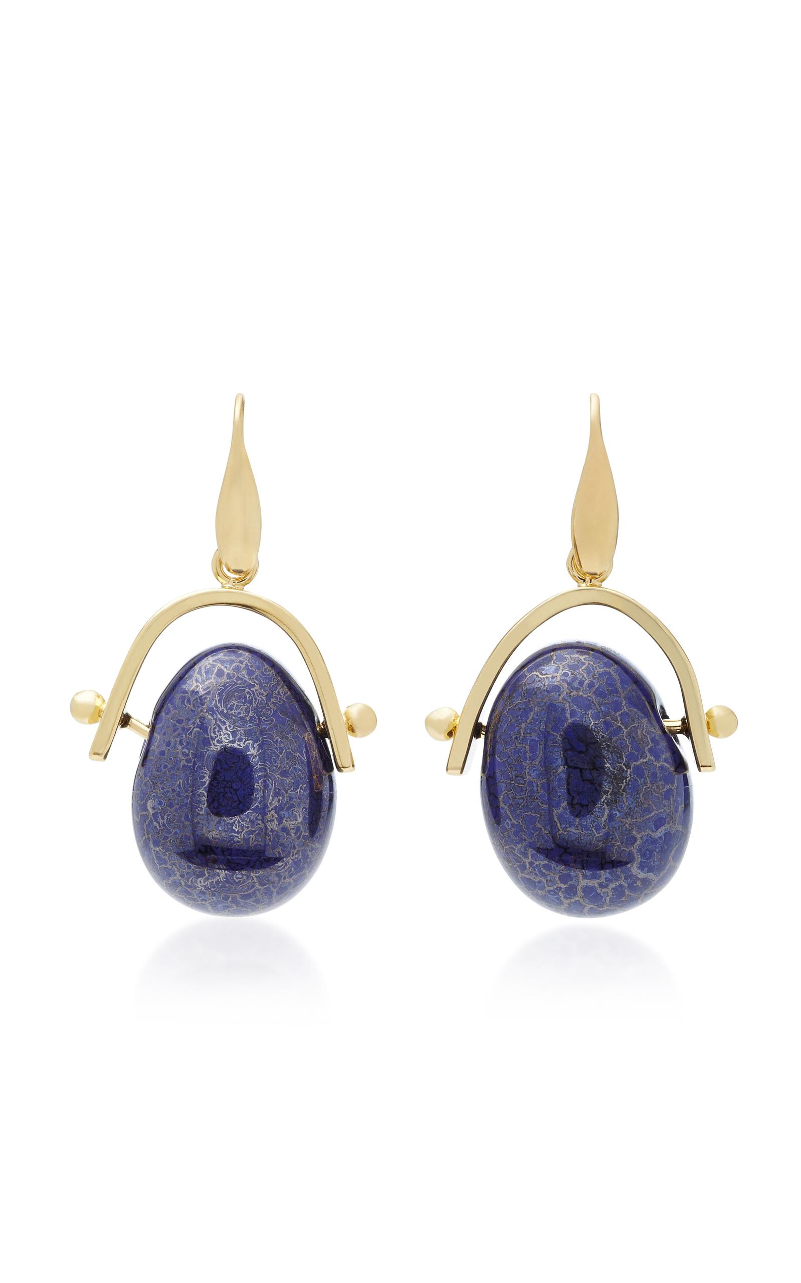 5f6119c76d Isabel Marant Gold-Tone Brass Pebble Earrings In Blue | ModeSens