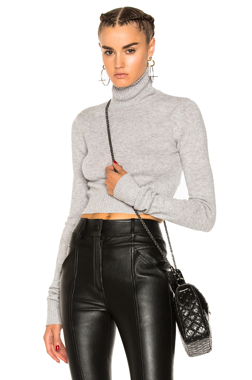 Faith Connexion Cropped Turtleneck Jumper In Grey