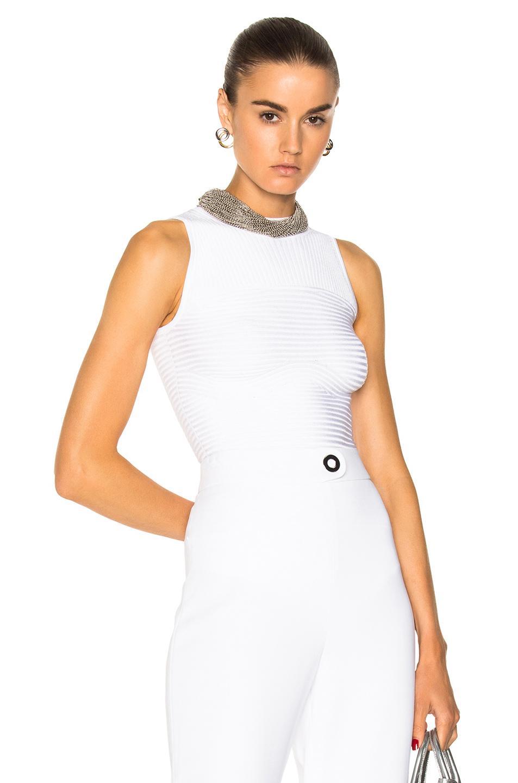 Cushnie Et Ochs Sleeveless Ribbed Bodysuit In White