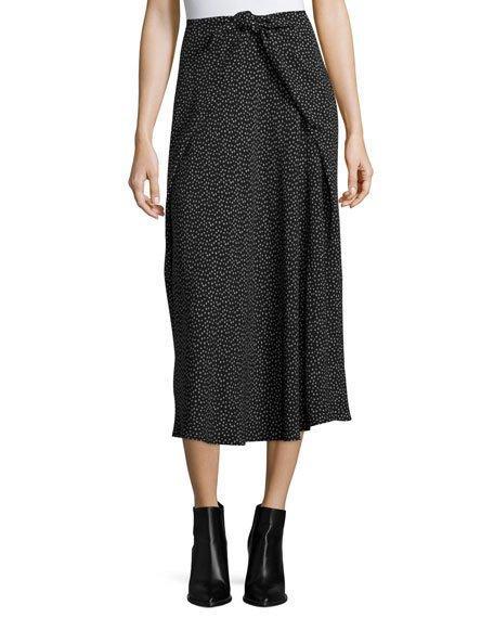 Vince Celestial Polka-dot Tie-front Midi Skirt, Black Multi In Black/dark Wolf