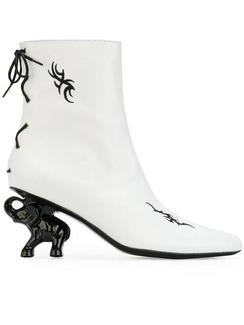 Dorateymur Tribal Elephant Heel Leather Ankle Boots In White