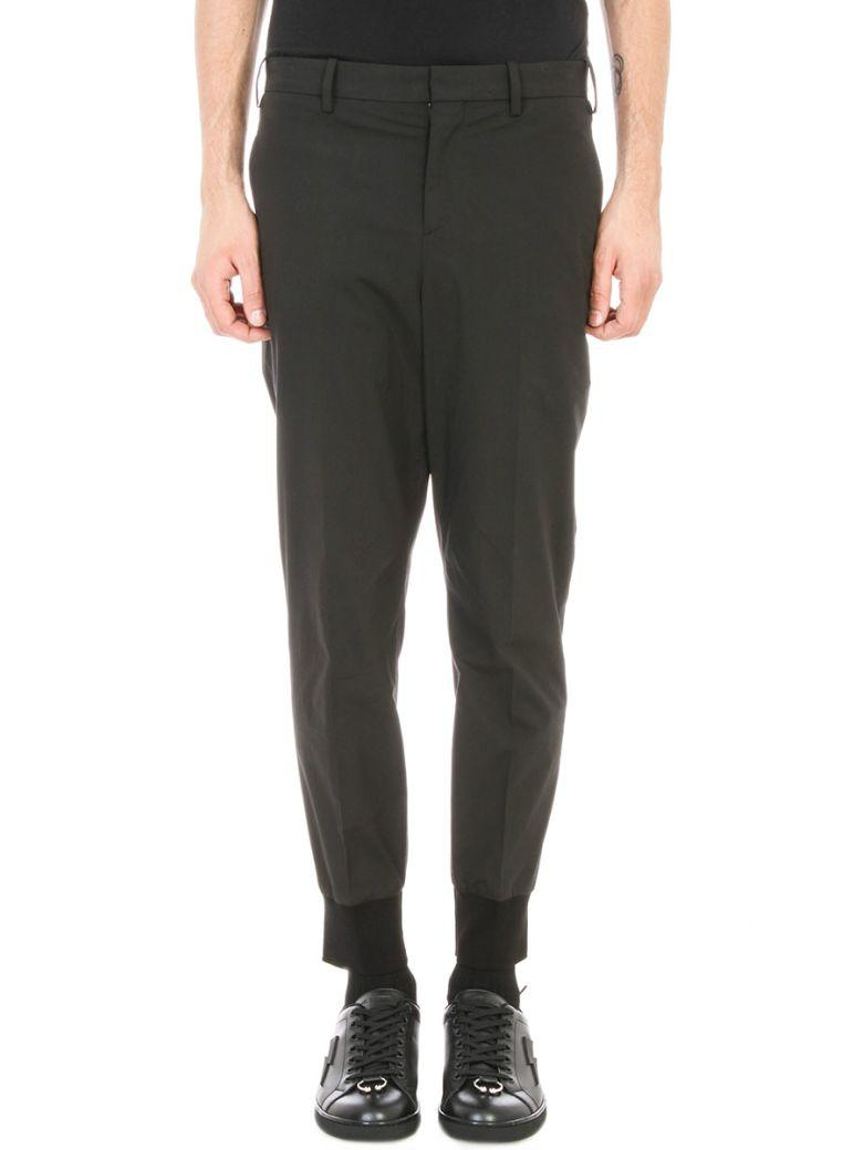 Neil Barrett Black Cotton Elastic Trouser