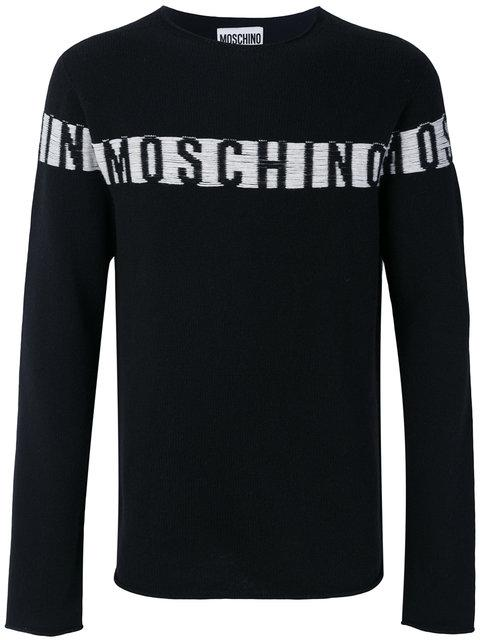 Moschino Logo Intarsia Sweater In Black